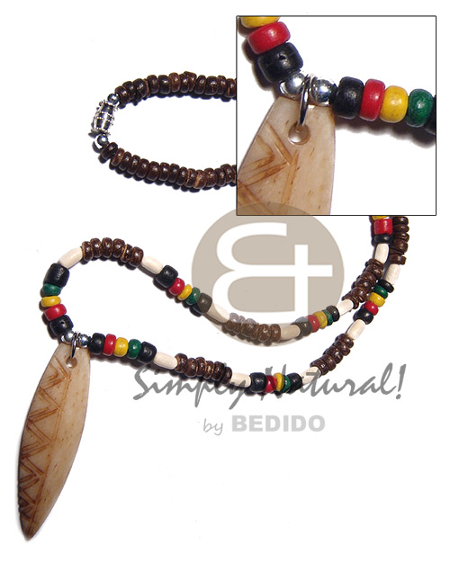 Rasta Wood Rice Bone Surfer Pendant 3-4 mm Unisex Reggae Rastafarian Accessory BFJ3489NK