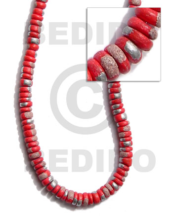 Red 16 inches Coconut 4-5 mm Pokalet Painted Coco Splashing Beads BFJ012SPL