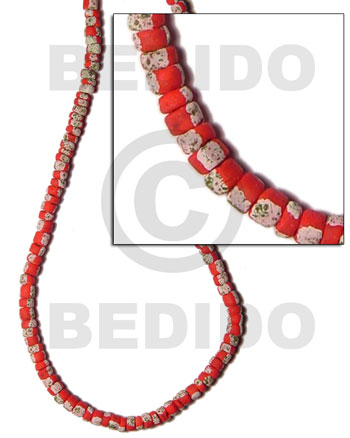 Red 4-5 mm Coconut Pokalet Painted Coco Pokalet Beads BFJ032SPL