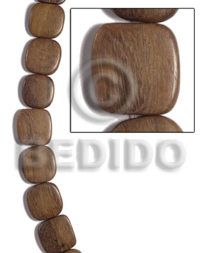 Robles Wood Round Edges Square Brown 25 mm Hardwood Wood Beads - Flat Square Wood Beads BFJ472WB