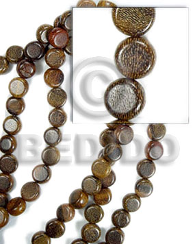 Robles Wood Side Drill Disc 10 mm 16 inches Brown Wood Beads - Flat Round and Oval Wood Beads BFJ064WB