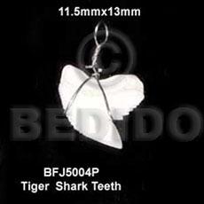 Shark Teeth Natural White Pendants - Bone Horn Pendants BFJ5004P