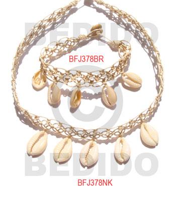 Sigay Cowry Shell Macrame thread White Set Jewelry Necklace Bracelets Set Jewelry BFJ059SJ