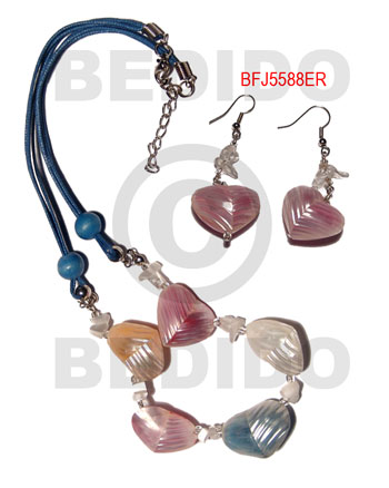 Silver Mouth Shell Natural Set Jewelry Earrings Necklace Set Jewelry BFJ017SJ