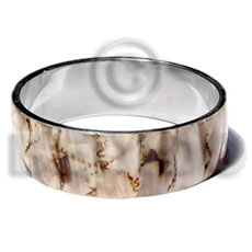 Stainless Steel Conus Pegulinos 1 inch 65 mm Natural Bangles - Shell Bangles BFJ113BL