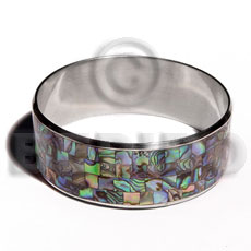 Stainless Steel Paua Abalone Laminated 1 inch 65 mm iridescent Bangles - Shell Bangles BFJ105BL