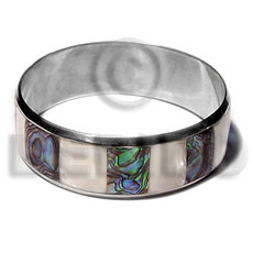 Stainless Steel Paua Abalone Laminated 1 inch 65 mm iridescent Bangles - Shell Bangles BFJ109BL