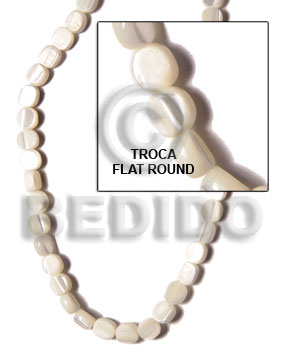 White 16 inches Trocha Shell Flat Round/Coin 6-7 mm Shell Special Cuts Shell Beads BFJ060SPS
