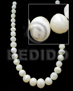 White 16 inches Trocha Shell Graduated Round Shell Round Shell Beads BFJ016SPS