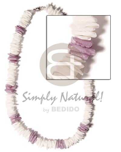 White Rose Dyed Lilac White 18 inches Shell Necklace BFJ670NK