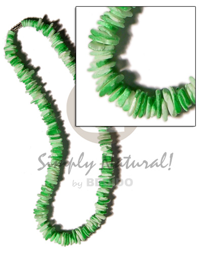 White Rose Green Splashing 18 inches Puka Shell Necklace BFJ1181NK