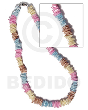 White Rose Multi-Color 18 inches Puka Shell Necklace BFJ3739NK
