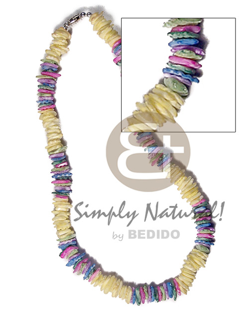 White Rose Multi-Color 18 inches Yellow Pink Blue Puka Shell Puka Shell Necklace BFJ3715NK