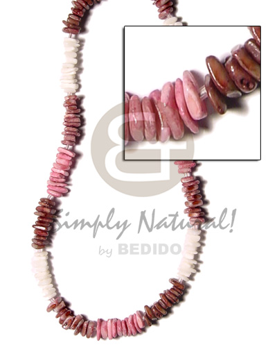 White Rose Pink 18 inches Dyed Shell Necklace BFJ362NK