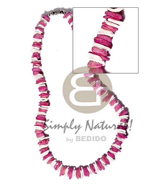 White Rose Pink Dyed 18 inches White Puka Shell Necklace BFJ3721NK