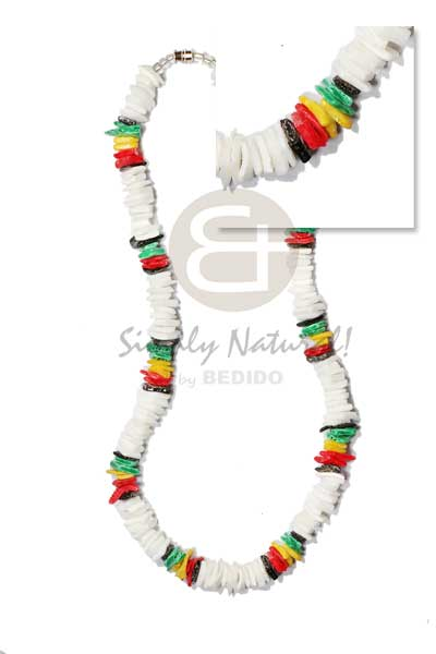White Rose Puka Shell Rasta Unisex Reggae Rastafarian Accessory BFJ5022NK