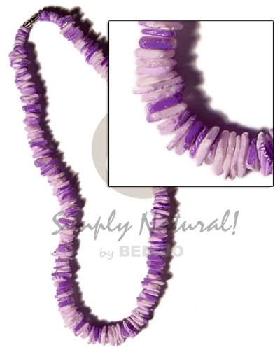 White Rose Violet Splashing 18 inches Puka Shell Necklace BFJ1179NK