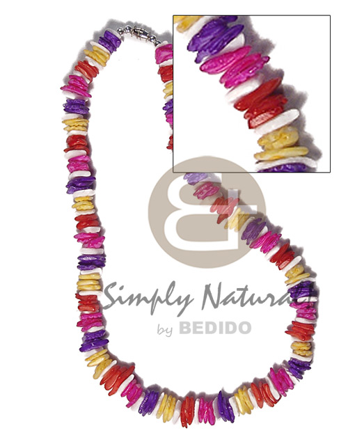 White Rose Yellow Dyed 18 inches Multi-Color Red Blue White Puka Shell Necklace BFJ3720NK