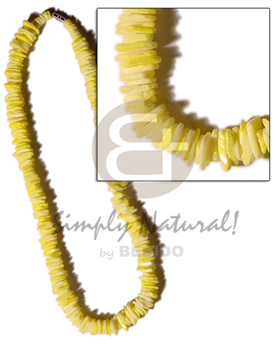 White Rose Yellow Dyed 18 inches Puka Shell Necklace BFJ1200NK