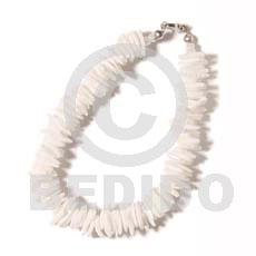 White White Rose 7.5 inches Square Cut Sea Shell Bracelets BFJ120BR