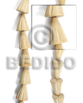White Wood 15 mm Groove Natural Cones Wood Beads Carved Wood Beads BFJ061WB