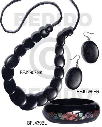 White Wood Black Set Jewelry Long necklace Bangles Earrings Set Jewelry BFJ182SJ