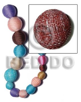 White Wood Brown 25 mm Round Wrapped Per Piece Rafia Wood Beads - Round Wood Beads BFJ311WB