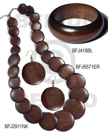White Wood Brown Set Jewelry 18 in necklace Bangles Earrings Set Jewelry BFJ185SJ