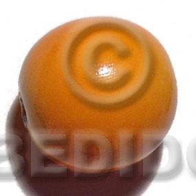 White Wood Coated 25 mm Orange Painted Beads Strands Wood Beads - Painted Wood Beads BFJ396WB
