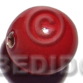 White Wood Coated 25 mm Red Painted Beads Strands Wood Beads - Painted Wood Beads BFJ394WB