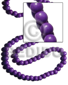White Wood Dyed Lavender 10 mm Beads Strands Round Wood Beads - Painted Wood Beads BFJ281WB