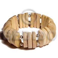 White Wood Elastic Natural Bangles - Wooden Bangles BFJ010BL