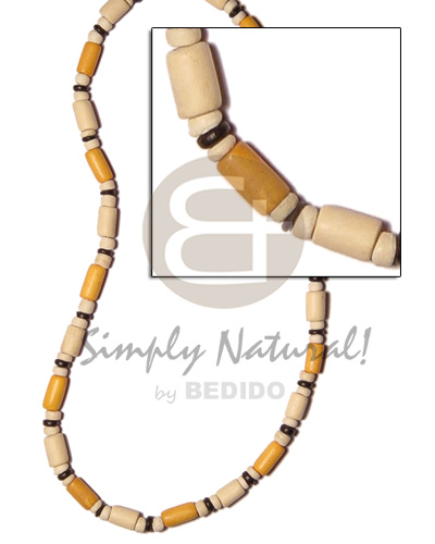 White Wood Golden Yellow Tube Pokalet Wood Dyed Wooden Necklaces BFJ501NK
