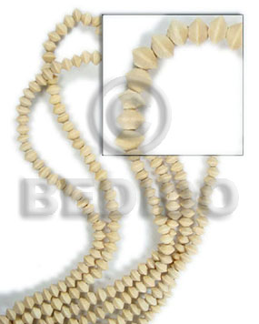White Wood Mentos 8 mm Natural White Beads Strands Wood Beads - Saucer and Diamond Wood Beads BFJ072WB