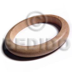 White Wood Natural 70 mm inner diameter Bangles - Plain BFJ651BL