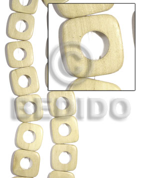 White Wood Natural Face to Face Round Edges Square 30 mm Wood Beads - Flat Square Wood Beads BFJ451WB