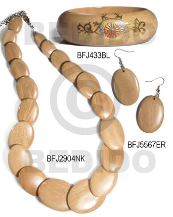 White Wood Natural Set Jewelry 18 in necklace Bangles Earrings Set Jewelry BFJ180SJ