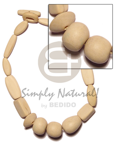 White Wood Natural White Polished 18 inches Wooden Necklaces BFJ1073NK