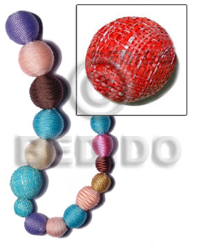 White Wood Red 20 mm Round Wrapped Per Piece Rafia Wood Beads - Round Wood Beads BFJ318WB