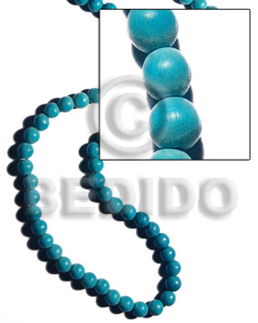 White Wood Round Dyed Aqua Blue 10 mm Beads Strands Wood Beads - Painted Wood Beads BFJ286WB