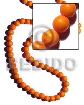 White Wood Round Dyed Orange 10 mm Beads Strands Wood Beads - Painted Wood Beads BFJ283WB