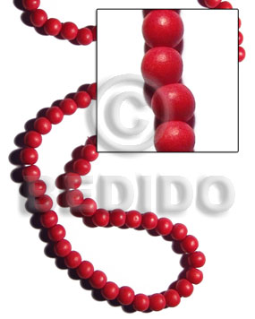 White Wood Round Dyed Red 10 mm Beads Strands Wood Beads - Painted Wood Beads BFJ284WB