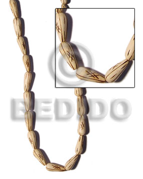 White Wood Teardrop Burning White Beads Strands Wood Beads - Saucer and Diamond Wood Beads BFJ121WB