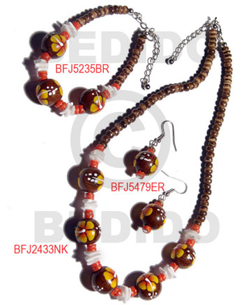Wood Beads Brown Set Jewelry Earrings Necklace Hand Painted Set Jewelry BFJ039SJ
