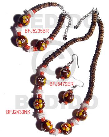 Wood Beads Brown Set Jewelry Earrings Necklace Hand Painted Set Jewelry BFJ039SJ