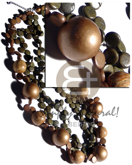 Wood Beads Coconut Olive Gold Round Multi Row Wooden Necklaces BFJ2374NK
