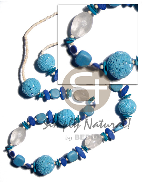 Wood Beads Glass Beads Blue Dyed 38 inches Wooden Necklaces BFJ2049NK
