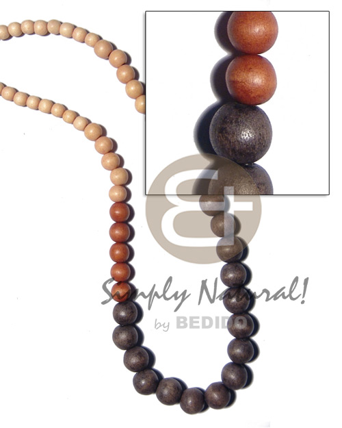 Wood Beads Graduated Earth Tones 30 inches Dyed Wooden Necklaces BFJ2177NK
