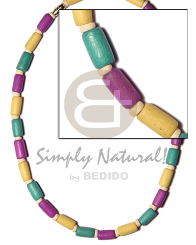 Wood Beads Green Yellow Lavender Multi-Color Dyed Coconut Wooden Necklaces BFJ517NK