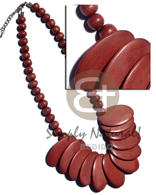 Wood Beads Oval Brown Round Overlapping Wooden Necklaces BFJ2192NK